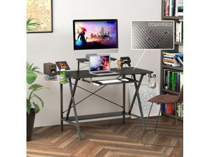 """47"""" Gaming Desk Table E-Sports Computer Desk with PC Stand Shelf Keyboard stand Power Strip with USB Cup Holder & Headphone Hook Home Office Desk Gamer Desk Writing Table Carbon Fiber Coated Black"""