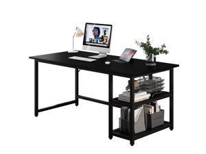"55"" Modern Splice Board Style Home Office Computer Desk Writing Desk with Wooden Storage Shelves Black"