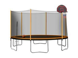 14FT Outdoor Powder-coated Advanced Trampoline with Basketball Hoop Inflator, Ladder and Outer Safety Enclosure Orange