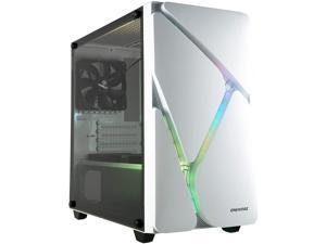 Enermax MarbleShell MS20 ARGB - Compact Micro-ATX Mini Tower PC Gaming Case with Dual ARGB Fans (3 Pre-Installed Fans) and Tempered Glass Side Panel - White