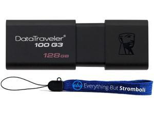 Kingston 128GB Digital Data Traveler DT100G3 3.0 USB High Speed Flash Drive (DT100G3/128GB) Plus (1) Everything But Stromboli (TM) Lanyard