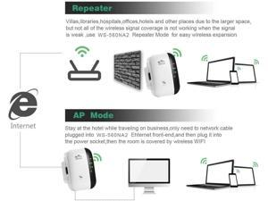 Mini WiFi Repeater Range Extender Wireless 300Mbps Access Point 2.4GHz High Speed Network Ap/Repeater Modes with Ethernet Port WiFi Signal Internet Booster Compatible with Alexa US Plug
