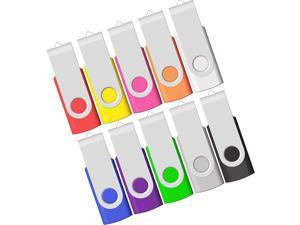8GB USB Flash Drive 10 Pack USB Drives 8 GB 10 PCS Memory Stick JBOS Swivel Thumb Drives Gig Stick USB2.0 Pen Drive for Fold Digital Date Storage Zip Drive Jump Drive USB Stick Mixed Color