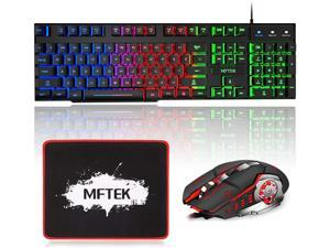 MFTEK Gaming Keyboard and Mouse Combo with Large Mouse Pad RGB Rainbow Backlit Gaming Keyboard and Illuminated Gaming Mouse USB Wired Set for Computer PC Gamer Laptop Office Work