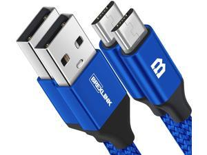 Micro USB Cable Android, BrexLink Micro USB to USB 2.0 Cable (2-Pack, 6.6 FT) Nylon Braided Fast Charging Cable Compatible .w Samsung, Kindle, Android Smartphones, Galaxy S7 Edge, Moto G5, PS4 (Blue)