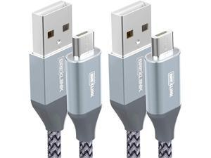 Micro USB Cable Android, BrexLink Micro USB to USB 2.0 Cable (2-Pack, 6.6 FT) Nylon Braided Fast Charging Cable Compatible .w Samsung, Kindle, Android Smartphones, Galaxy S7 Edge, Moto G5, PS4 (Grey)