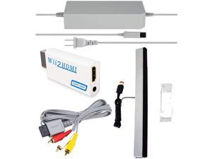 SSIOIZZ 4 in 1 Wii Replacement Cables Set Wii AC Power Adapter + Wii to hdmi Converter+ Wired Motion Sensor Bar and Composite Audio Video Cable for Nintendo Wii