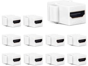 HDMI Keystone Jack PHIZLI 10 Pack HDMI Keystone Insert Female to Female Coupler Adapter (White)