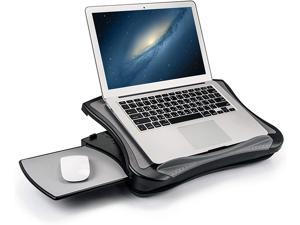 MAX SMART Laptop Lap Pad Laptop Stand with Attached Mouse Pad Cushion and USB Cooling Fan Non-Slip Heat Shield Tablet Computer Stand for Sturdy Work Station for Home Office Bed Sofa Couch and Car