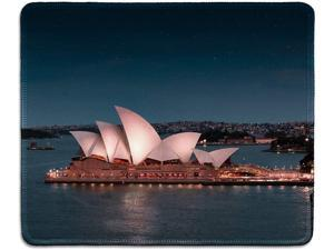 dealzEpic - Art Mousepad - Natural Rubber Mouse Pad Printed with Sydney Opera House at Night - Stitched Edges - 9.5x7.9 inches