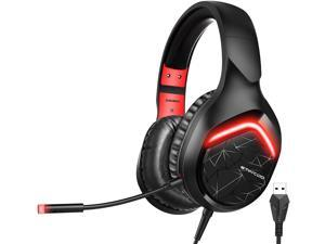 SOMIC Gaming Headset for PS4 PC Computer: 7.1 Virtual Surround Sound Over Head Earphone with Detachable Mic LED Light Soft Earmuffs Volume Controller Gamer Headsets GS301 USB Plug