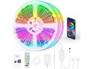 100 FT LED Strip Lights LED Lights for Bedroom 100 ft with Remote + Bluetooth APP Phone Controlled Color Changing Long Smart LED Light Strip (2 Rolls of 50ft RGB LED Strip Lights)-Sync with Music