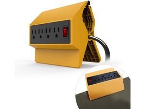 Ankuoo Power Strip, 4-Outlet Extender (1875W/15A), Removable Desktop Power Outlet for Workbench, Desk, Outdoor and Home Office,12 Feet Long Extension Cord Clamp,Yellow,UL and ETL Listed