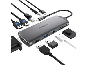 MagBac USB C Hub, Laptop Docking Station Dual Monitor,11 in 1 USB C to HDMI Triple Display Adapter for MacBook and Windows with Full-Featured USB C Laptop(DP Supported) or Thunderbolt 3 Laptops
