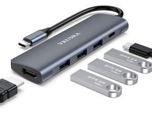 USB C Docking Station, VKUSRA 5-in-1 USB C Hub Adapter Dock with 4K USB C to HDMI, USB-C PD Charging Port, 3 USB 3.0 Ports for MacBook/Pro, Chromebook, and More