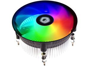 ID-COOLING DK-03i CPU Cooler for LGA1200/115X 60mm Height Low-Profile CPU Air Cooler with Aluminum Fins Rainbow RGB Lighting 120mm PWM Fan Thermal Compound Included TDP 100W