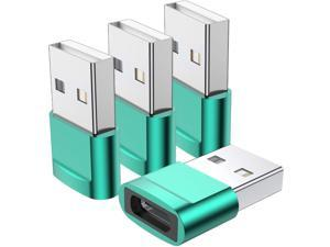 USB C Female to USB Male Adapter 4-Pack Type C to USB A Charger Cable Adapter Compatible with iPhone 11 12 13 Pro Max iPad 2020 Samsung Galaxy Note 10 S20 Plus S20+ Ultra Google Pixel 5 4 3 XL(Green)