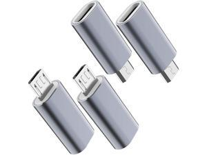 USB C to Micro USB Adapter (4-Pack) Type C Female to Micro USB Male Convert Connector Support Charge Data Sync Compatible with Samsung Galaxy S7 S7 Edge Nexus 5 6 and Micro USB Devices(Grey)