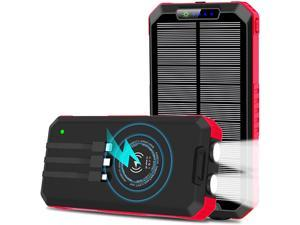 Solar Charger15W 30000mAh Portable Phone Charger with Built-in 3 Cables for Cell Phone & LED Flashlight External Battery Pack USB C Quick Charge Qi Power Bank Compatible with iPhone Android Phones