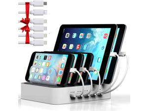 Charging Station for Multiple Devices MSTJRY 5 Port USB Charging Station Dock Organizer Compatible for iPhone iPad Cell Phone Tablet (White 6 Shorts Cables Included)