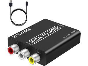 RCA to HDMI Converter, 1080P RCA Composite CVBS Video Audio Converter Adapter Supporting PAL/NTSC for TV/PC/ PS3/ STB/Xbox VHS/VCR/Blue-Ray DVD Players