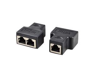 RJ45 Splitter Adapter Ethernet Splitter 1 to 2 Extender Connecter Female to 2 Female 8P8C Network Splitter for Cat5 Cat5e Cat6 Cat6e Cat7 Cable.