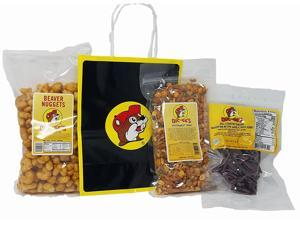 Buc-ees Roadtrip Favorites Bundle: Beaver Nuggets Southwest Trail Mix and Bohemian Garlic Beef Jerky with Bag and Beaver Tissue Paper