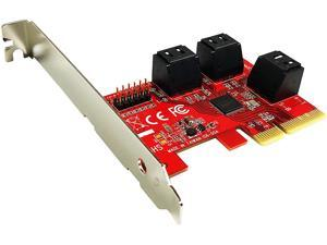 PEX-SA156 6-Port SATA 6G PCI Express x4 Host Adapter Card - AHCI 6Gbps SATA III Port-Multiplier PCIe 3.0 4-Lane Low Profile Controller Card (ASMedia ASM1166)