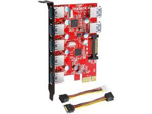Inateck Superspeed 7 Ports PCI-E to USB 3.0 Expansion Card - 5 USB 3.0 Ports and 2 Rear USB 3.0 Ports Express Card Desktop with 15 Pin SATA Power Connector Including Two Power Cables (KT5002)