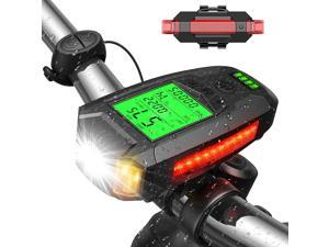 UZOPI Bike Lights Set USB Rechargeable Super Bright Front Headlight and Rear LED Bicycle Light 5 Light Modes with Speedometer Calorie Counter for Men Women Kids Road Mountain Cycling