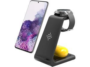 Wireless Charger Fast Wireless Charging Station 3 in 1 Qi-Certified Charging Stand Compatible with Samsung Galaxy S20 S10/S9/Note10 Galaxy Buds+ Galaxy Watch Active2/1/ Gear S2/S3 iPhone 12/11/XS