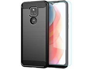 Moto G Play 2021 Casewith HD Screen ProtectorShock-Absorption Flexible TPU Bumper Cove Soft Rubber Protective Case for Motorola Moto G Play 2021 (Black Brushed TPU)