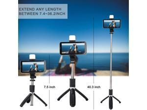 Selfie Stick Tripod All in One Extendable Dimmable LED Selfie Sticks with Fill Light Tripod Stand and Detachable Wireless Remote for iPhone 11/XS MAX/X/8/8 Plus Galaxy S10/S9/S9 Plus