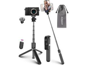 Selfie Stick Tripod ELEGIANT Lightweight Aluminum All in One Extendable Selfie Stick Bluetooth with Remote Compatible with iPhone 12/12 Pro/11/XS Max/XS/XR/8P Galaxy S20/S10/S9 Gopro Small Camera