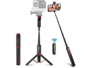 Selfie Stick Tripod BlitzWolf Lightweight Aluminum All in One Extendable Phone Tripod for Gopro Dslr Camera Selfie Stick with Wireless Remote for iPhone 11 Pro/XS Max/XS/XR/X/8/7/6 Galaxy S10/S9/S8