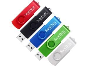 SamData 32GB USB Flash Drives 5 Pack 32GB Thumb Drives Memory Stick Jump Drive with LED Light for Storage and Backup (5 Colors: Black Blue Green Red Silver)