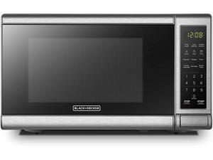 BLACK+DECKER EM720CB7 Digital Microwave Oven with Turntable Push-Button DoorChild Safety Lock700W Stainless Steel 0.7 Cu.ft