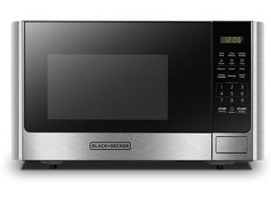 BLACK+DECKER Digital Microwave Oven with Turntable Push-Button Door Child Safety Lock Stainless Steel 0.9 Cu.ft