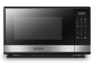 BLACK+DECKER EM031MB11 Digital Microwave Oven with Turntable Push-Button Door Child Safety Lock 1000W 1.1cu.ft Stainless Steel 1.1 Cu.ft