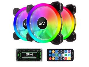 GIM KB-23 RGB Case Fans 3 Pack 120mm Quiet Computer Cooling PC Fans Music Rhythm 5V ARGB Addressable Motherboard SYNC/RC Controller Colorful Cooler Speed Adjustable with Fan Control Hub
