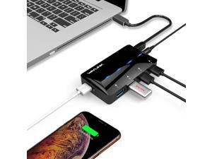 Powered USB 3.0 Hub 4-Port USB 3.0 Data Hub with One Smart Charging Port Up to 2.4A (BC1.2/iPad/iPhone/Tablet) with 12V/2A Power Adapter LED Indicator Hot Swapping Plug and Play