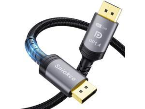 8K DisplayPort Cable 1.4 Sniokco 8K DP Cable 6.6ft/2M (8K@60Hz 7680x4320 4K@240Hz 2K@144Hz) Nylon Braided DP 1.4 Ultra High Speed DP to DP Cable Cord for Laptop PC Gaming Monitor TV