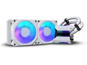 Phanteks (P-GO240MPH_DWT01) Glacier One 240MPH D-RGB AIO Liquid CPU Cooler Infinity Mirror Pump Cap Design 2X Silent 120mm MP PWM Fans 2X D-RGB Halos Fan Frames White