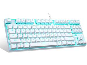 White Mechanical Gaming Keyboard MageGee MK-Star LED Backlit Keyboard Compact 87 Keys TKL Wired Computer Keyboard with Blue Switches for Windows Laptop Gaming PC