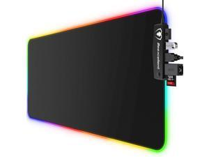 RGB Gaming Mouse Pad 14 Lights Modes with 4 USB Ports Ultra-Large Size Soft Extra Extended Mousepad Anti-Slip Rubber Base Computer Keyboard Mat 31.5X 11.8in