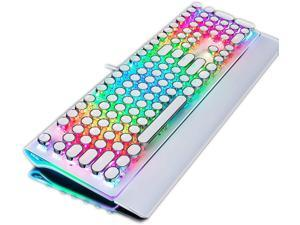 TISHLED Typewriter Style Mechanical Gaming Keyboard with True RGB Backlit Collapsible Wrist Rest 108-Key Anti-Ghosting Blue Switch Retro Steampunk Vintage Round Keycaps Metal Panel Wired USB White