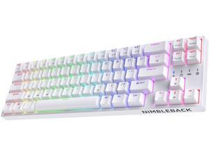LTC NB681 Nimbleback Wired 65% Layout Mechanical Keyboard RGB Backlit Ultra-Compact 68 Keys Gaming Keyboard with Hot-Swappable Tactile Brown Switch and Stand-Alone Arrow/Control Keys White