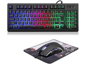 RGB 89 Keys Backlit Gaming Keyboard and Mouse ComboUSB Wired Mechanical Feeling Gaming Keyboard and Gaming Mouse for Desktop Computer PC Game and Work (89 Keys Gaming KeyboardMouseMouse Pad)