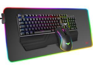 Havit Mechanical Keyboard and Mouse Combo RGB Gaming 104 Keys Blue Switches Wired USB Keyboards with Detachable Wrist Rest Programmable Mouse RGB Large Gaming Mouse Pad for PC Gamer Computer Desktop