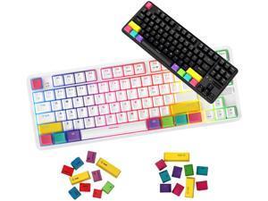[KORDO] Ajazz K870T 87Keys Bluetooth Wired/Wireless Mac/MacBook Mechanical Keyboard with Additional Keycaps for Mac/Window Type-C Cable. (White Brown Switch)